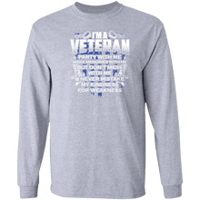 Load image into Gallery viewer, Designs by MyUtopia Shout Out:I'm A Veteran Don't Mess With Me Long Sleeve Ultra Cotton T-Shirt,Sport Grey / S,Long Sleeve T-Shirts