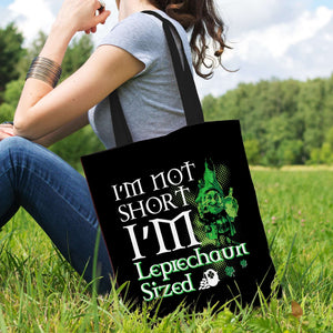Designs by MyUtopia Shout Out:I'm Not Short, I'm Leprechaun Sized Fabric Totebag Reusable Shopping Tote