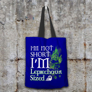 Designs by MyUtopia Shout Out:I'm Not Short, I'm Leprechaun Sized Fabric Totebag Reusable Shopping Tote,Navy,Reusable Fabric Shopping Tote Bag