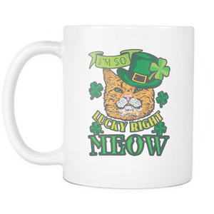 Designs by MyUtopia Shout Out:I'm So Lucky Right Meow Ceramic Coffee Mug
