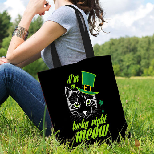 Designs by MyUtopia Shout Out:I'm So Lucky Right Meow Fabric Totebag Reusable Shopping Tote