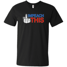 Load image into Gallery viewer, Designs by MyUtopia Shout Out:Impeach This Trump Humor Men's Printed V-Neck T-Shirt,S / Black,Adult Unisex Vneck Tee