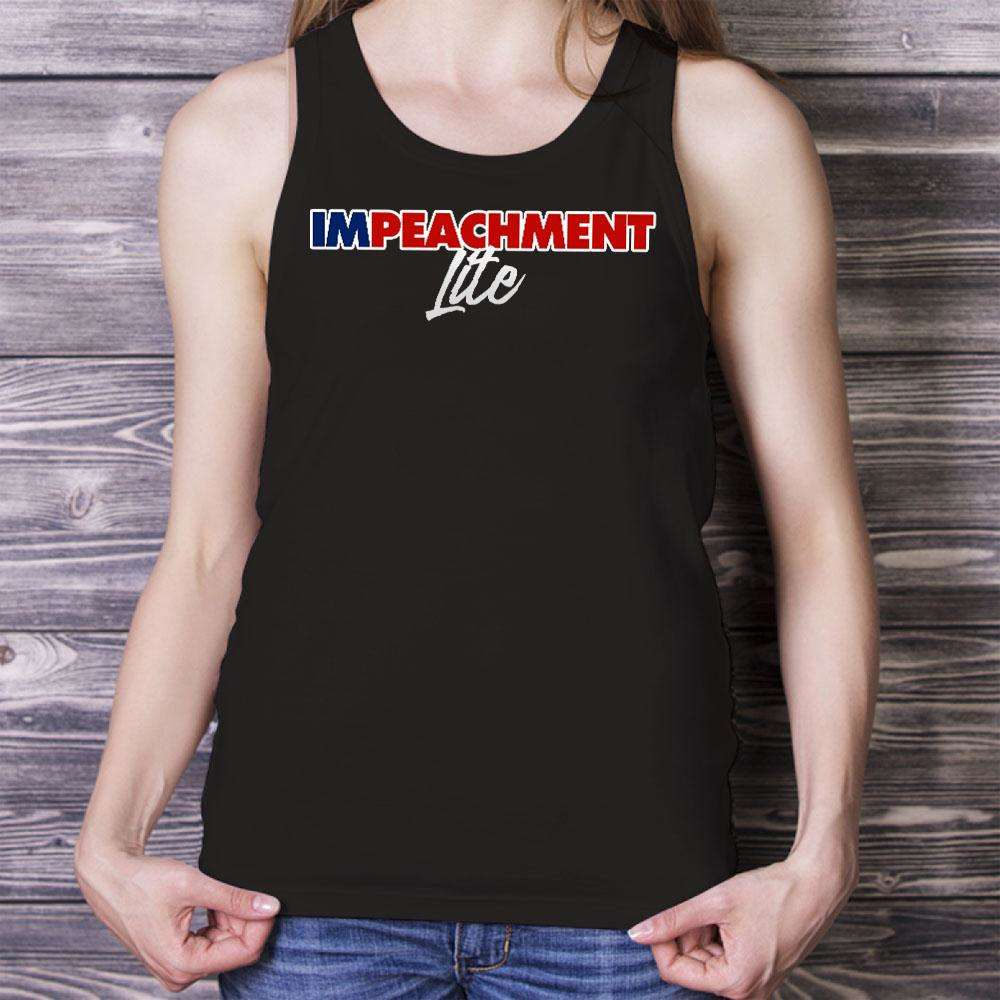 Designs by MyUtopia Shout Out:Impeachment Lite Trump Humor Unisex Tank