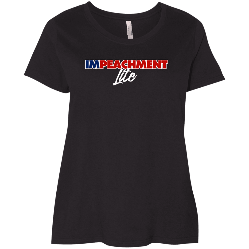 Designs by MyUtopia Shout Out:Impeachment Lite Trump Ladies' Plus Size Curvy T-Shirt,Black / Plus 1X,Ladies T-Shirts