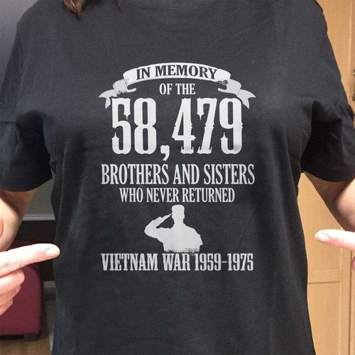 Designs by MyUtopia Shout Out:In Memory of the 58k Who Never Returned from the Vietnam War Unisex T-Shirt