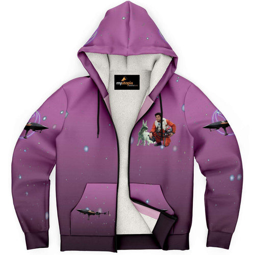Designs by MyUtopia Shout Out:Inspired by Poe And Crystal Fox Fan Art Microfleece Zip-Up Hoodie - Pink,XS,Microfleece Ziphoodie - AOP