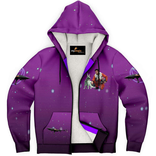Designs by MyUtopia Shout Out:Inspired by Poe And Crystal Fox Fan Art Microfleece Zip-Up Hoodie - Purple,XS,Microfleece Ziphoodie - AOP