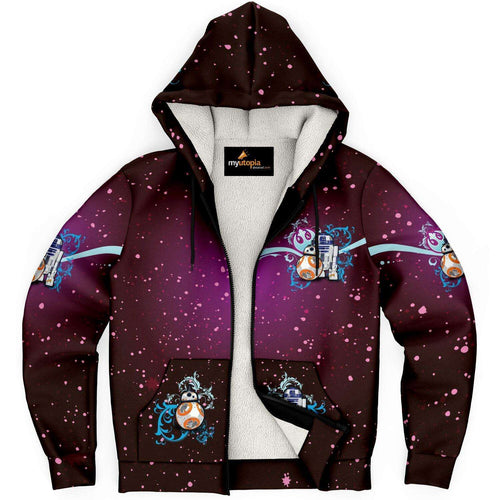 Designs by MyUtopia Shout Out:Inspired by the Droid Friends R2-D2 and BB-8 Micro Fleece Lined Hoodie Jacket,XS,Microfleece Ziphoodie - AOP