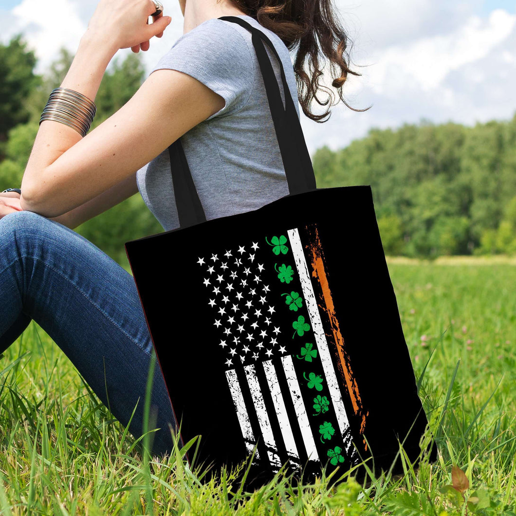 Designs by MyUtopia Shout Out:Irish American Flag Fabric Totebag Reusable Shopping Tote