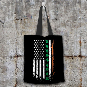 Designs by MyUtopia Shout Out:Irish American Flag Fabric Totebag Reusable Shopping Tote,Black,Reusable Fabric Shopping Tote Bag