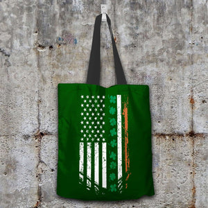 Designs by MyUtopia Shout Out:Irish American Flag Fabric Totebag Reusable Shopping Tote,Dark Green,Reusable Fabric Shopping Tote Bag