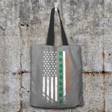 Load image into Gallery viewer, Designs by MyUtopia Shout Out:Irish American Flag Fabric Totebag Reusable Shopping Tote,Grey,Reusable Fabric Shopping Tote Bag