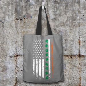 Designs by MyUtopia Shout Out:Irish American Flag Fabric Totebag Reusable Shopping Tote,Grey,Reusable Fabric Shopping Tote Bag