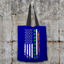 Load image into Gallery viewer, Designs by MyUtopia Shout Out:Irish American Flag Fabric Totebag Reusable Shopping Tote,Navy,Reusable Fabric Shopping Tote Bag
