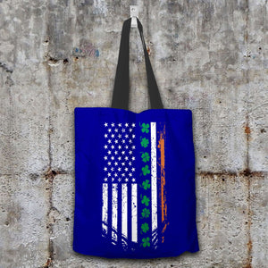 Designs by MyUtopia Shout Out:Irish American Flag Fabric Totebag Reusable Shopping Tote,Navy,Reusable Fabric Shopping Tote Bag