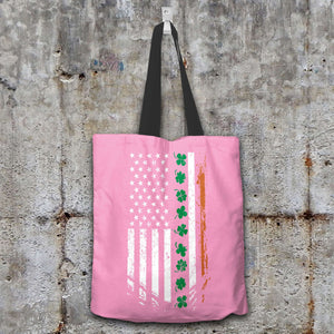 Designs by MyUtopia Shout Out:Irish American Flag Fabric Totebag Reusable Shopping Tote,Pink,Reusable Fabric Shopping Tote Bag