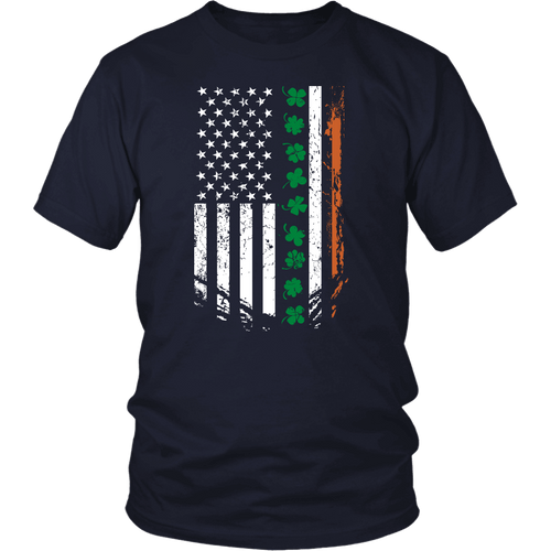 Designs by MyUtopia Shout Out:Irish American Flag T-shirt,Navy / S,Adult Unisex T-Shirt