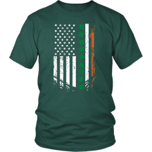 Load image into Gallery viewer, Designs by MyUtopia Shout Out:Irish American Flag T-shirt,Dark Green / S,Adult Unisex T-Shirt