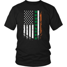 Load image into Gallery viewer, Designs by MyUtopia Shout Out:Irish American Flag T-shirt,Black / S,Adult Unisex T-Shirt