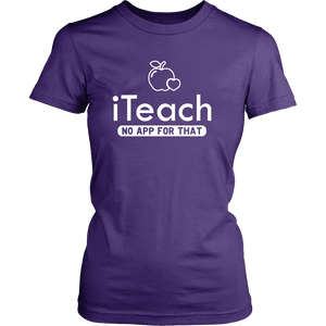 Designs by MyUtopia Shout Out:iTeach (No App for that) Adult Unisex Cotton Short Sleeve T-Shirt,District Womens Shirt / Purple / XS,Adult Unisex T-Shirt