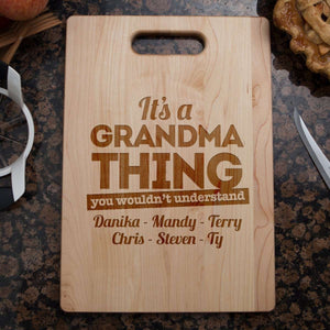 Designs by MyUtopia Shout Out:It's A Grandma Thing Personalized with Kids Names Engraved Maple Cutting Board,🌟  Best Value 9 3/4″ X 13.5″,Cutting Board