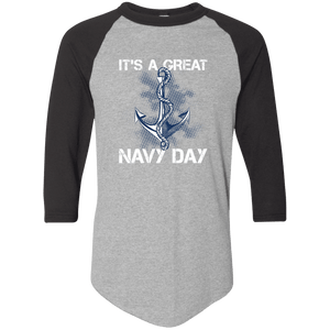 Designs by MyUtopia Shout Out:It's A Great Navy Day 3/4 Length Sleeve Color block Raglan Jersey T-Shirt,Athletic Heather/Black / S,Adult Unisex T-Shirt
