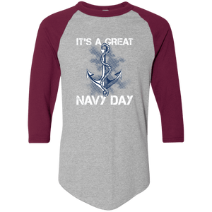 Designs by MyUtopia Shout Out:It's A Great Navy Day 3/4 Length Sleeve Color block Raglan Jersey T-Shirt,Athletic Heather/Maroon / S,Adult Unisex T-Shirt