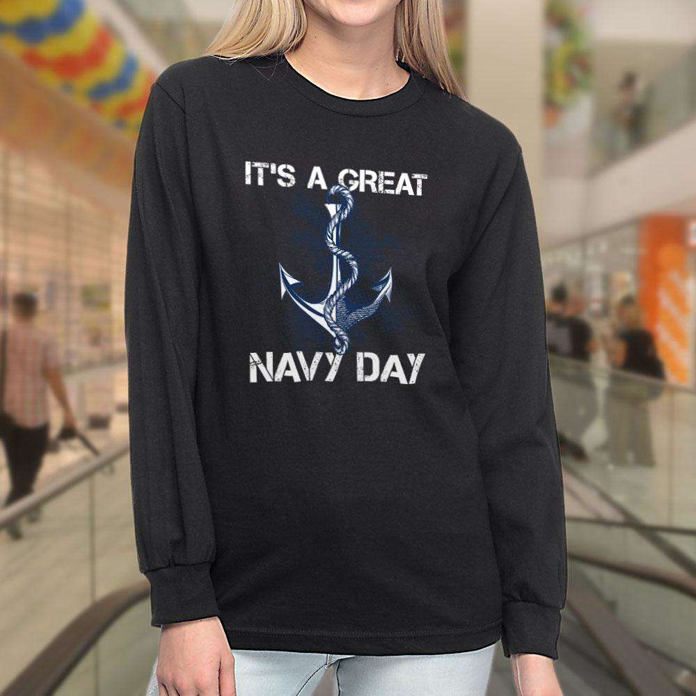 Designs by MyUtopia Shout Out:It's A Great Navy Day Long Sleeve Ultra Cotton T-Shirt