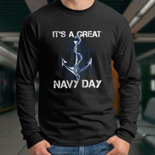 Load image into Gallery viewer, Designs by MyUtopia Shout Out:It's A Great Navy Day Long Sleeve Ultra Cotton T-Shirt