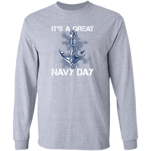 Load image into Gallery viewer, Designs by MyUtopia Shout Out:It's A Great Navy Day Long Sleeve Ultra Cotton T-Shirt,Sport Grey / S,Long Sleeve T-Shirts