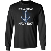 Load image into Gallery viewer, Designs by MyUtopia Shout Out:It's A Great Navy Day Long Sleeve Ultra Cotton T-Shirt,Black / S,Long Sleeve T-Shirts