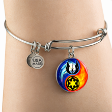 Load image into Gallery viewer, Designs by MyUtopia Shout Out:Jedi Phoenix / Imperial Cog Ying Yang Liquid Glass Wire Bracelet