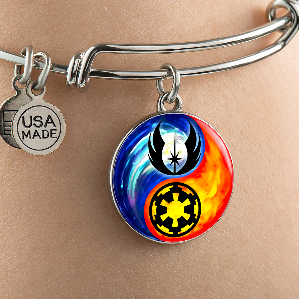Designs by MyUtopia Shout Out:Jedi Phoenix / Imperial Cog Ying Yang Liquid Glass Wire Bracelet,Silver,Wire Bracelet