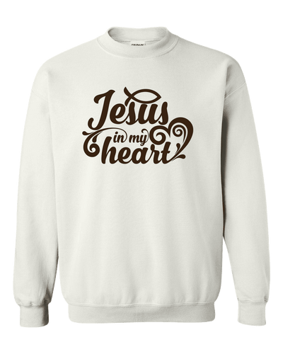 Designs by MyUtopia Shout Out:Jesus In My Heart Adult Crewneck Sweat Shirt,S / White,Sweatshirts
