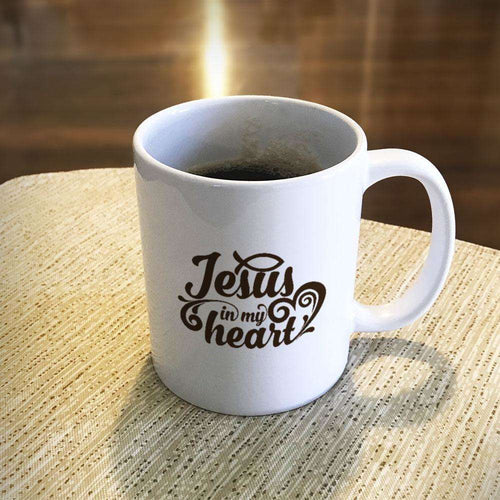 Designs by MyUtopia Shout Out:Jesus In My Heart Ceramic White Coffee Mug