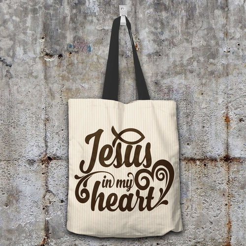 Designs by MyUtopia Shout Out:Jesus In My Heart Christian Fabric Totebag