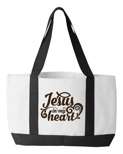 Designs by MyUtopia Shout Out:Jesus In My Heart Christian Faith Canvas Totebag Gym / Beach / Pool Gear Bag,White,Gym Totebag