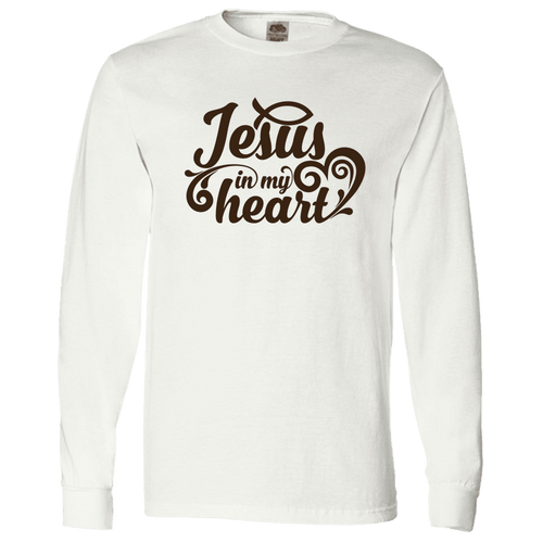 Designs by MyUtopia Shout Out:Jesus In My Heart Christian Long Sleeve T-Shirt,S / White,Long Sleeve T-Shirts