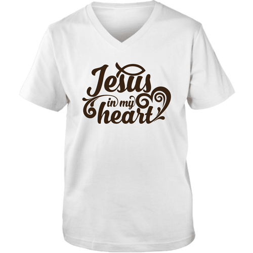 Designs by MyUtopia Shout Out:Jesus In My Heart Christian Unisex V-Neck Tee,S / White,Adult Unisex Vneck Tee