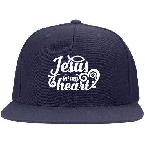 Designs by MyUtopia Shout Out:Jesus in My Heart Embroidered Flat Bill Twill Flex-fit Cap - Navy Blue,Navy / S/M,Hats