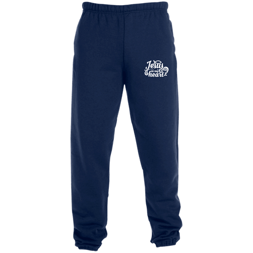 Designs by MyUtopia Shout Out:Jesus in My Heart Embroidered Jerzees Unisex Sweatpants with Pockets - Navy Blue,True Navy / S,Pants