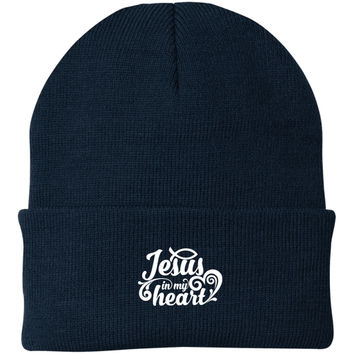 Designs by MyUtopia Shout Out:Jesus in My Heart Embroidered Port Authority Knit Beanie Cap - Navy Blue,Navy / One Size,Hats