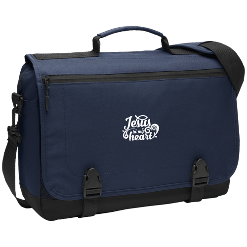 Designs by MyUtopia Shout Out:Jesus in My Heart Embroidered Port Authority Messenger Briefcase - Navy Blue,Navy / One Size,Bags