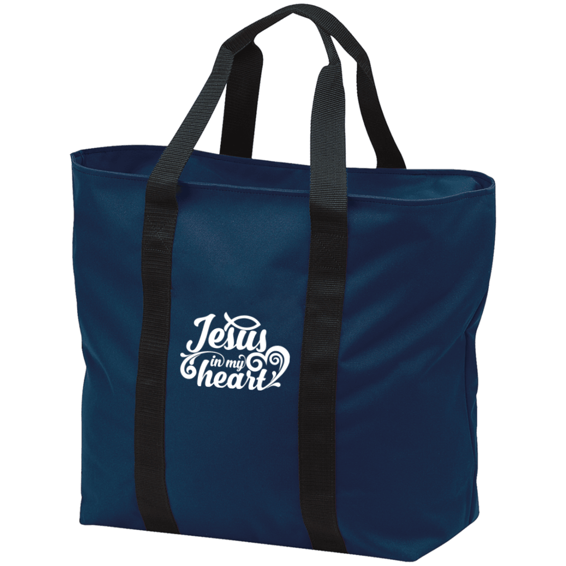 Designs by MyUtopia Shout Out:Jesus in My Heart Embroidered Port & Co. All Purpose Tote Bag - Navy Blue w Zipper Closure and side pocket,Navy/Black / One Size,Totebag