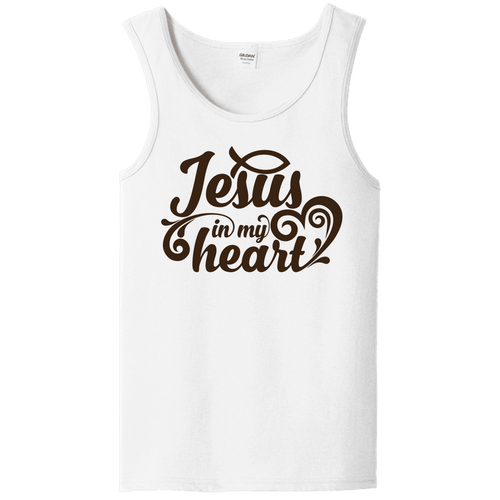 Designs by MyUtopia Shout Out:Jesus In My Heart Unisex Tank Top,S / White,Tank Tops