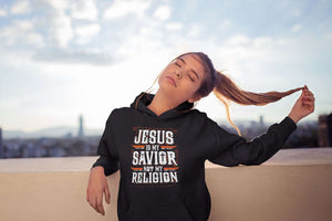 Designs by MyUtopia Shout Out:Jesus Is My Savior Not My Religion Core Fleece Pullover Hoodie
