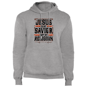 Designs by MyUtopia Shout Out:Jesus Is My Savior Not My Religion Core Fleece Pullover Hoodie,Athletic Heather / S,Pullover Hoodie