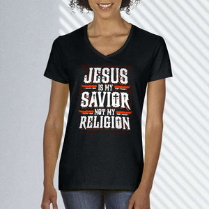 Designs by MyUtopia Shout Out:Jesus Is My Savior Not My Religion Ladies' V-Neck T-Shirt
