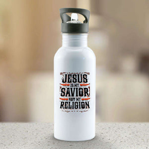 Designs by MyUtopia Shout Out:Jesus Is My Savior Not My Religion Water Bottle