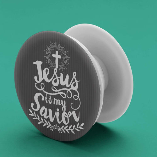 Designs by MyUtopia Shout Out:Jesus Is My Savior Pop-out Phone Grip for Smartphones and Tablets